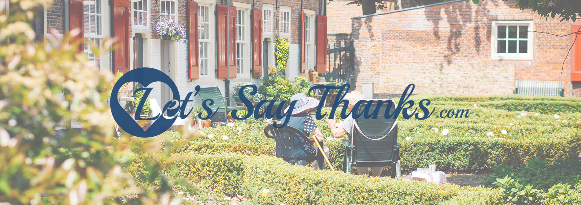 Let's Say Thanks Logo and seniors sitting on park bench