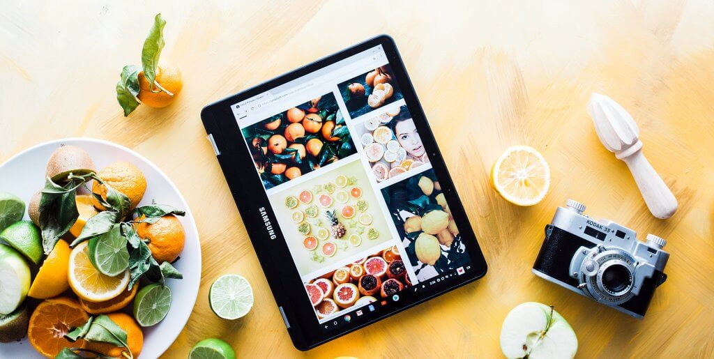 Tablet computer used by senior to find recipes