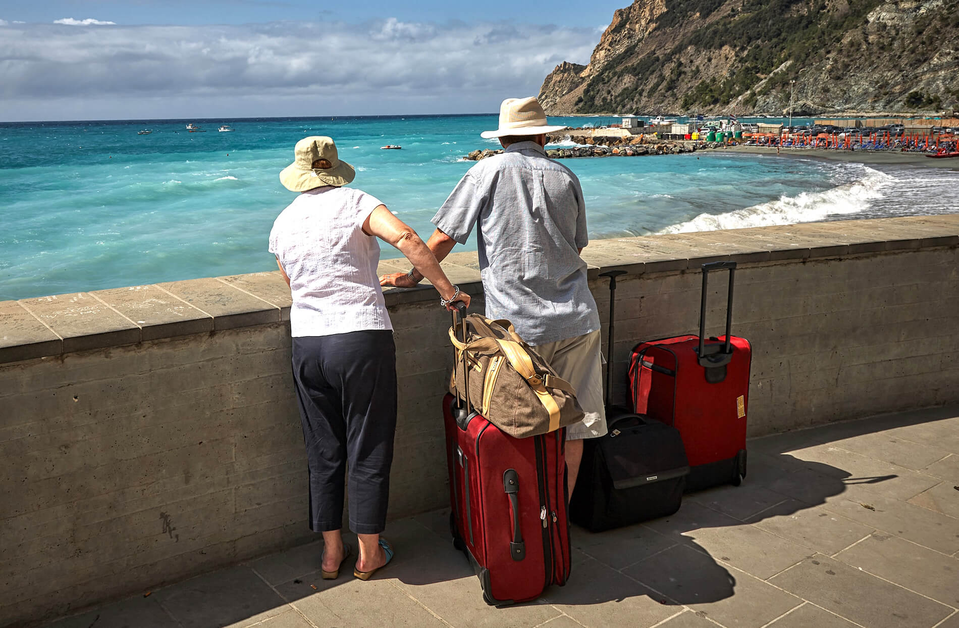Retired couple traveling to the ocean